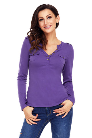 Purple Pockets Button Long Sleeves Top