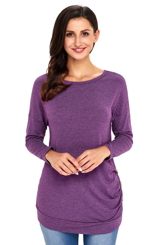 Purple Side Buttoned Long Sleeves Top