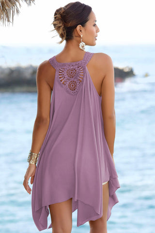Purple Back Crochet Sleeveless Beach Dress