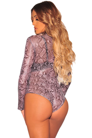 Purple Leopard Print High Neck Bodysuit