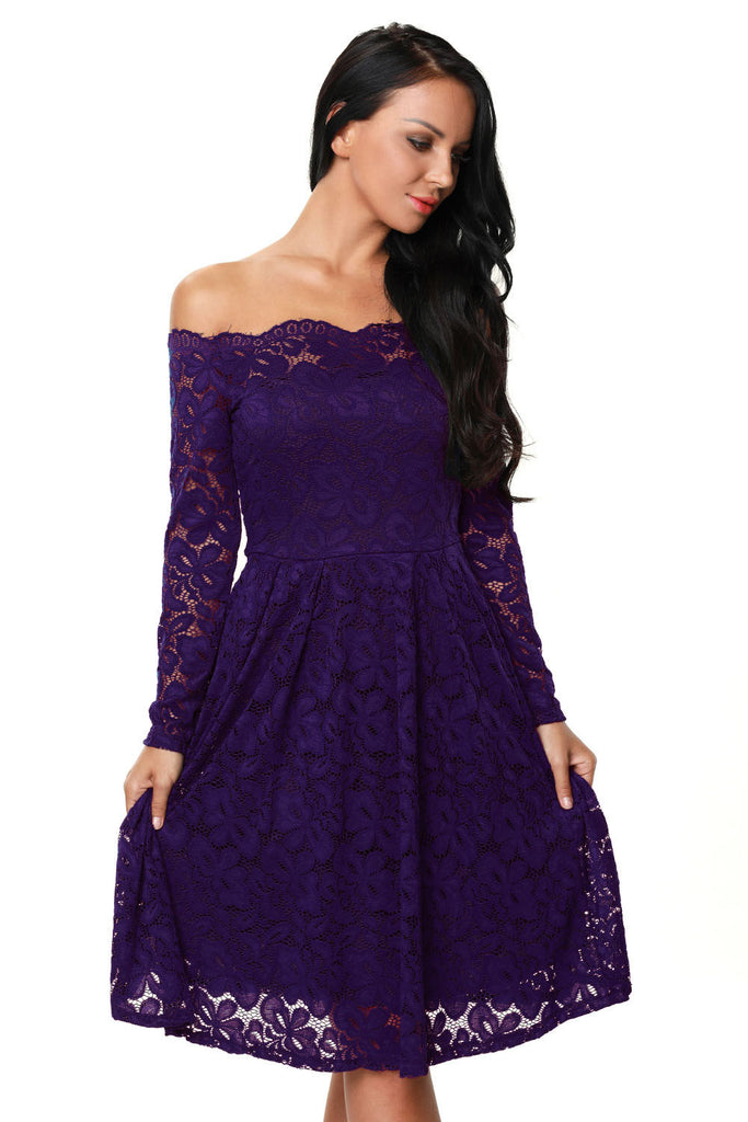 63ef6206c75d Buy Purple Floral Lace Long Sleeve Midi Dress - Boldgal.com