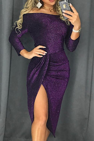 Purple Metallic Sequin Off Shoulder Dress