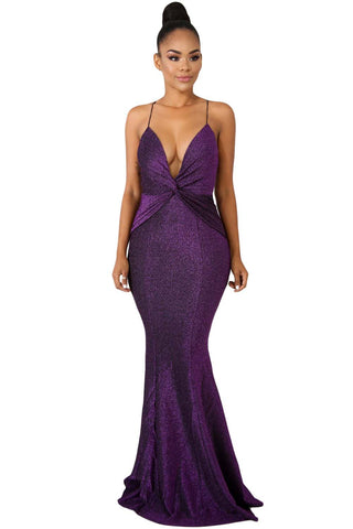 Purple Deep Neck Twist Shine Gown Dress