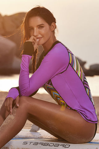 Purple Long Sleeves Rashguard Beach Top