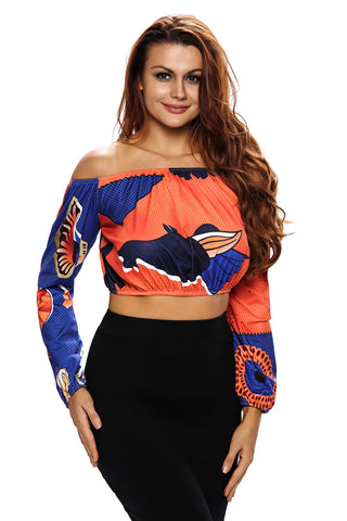 Blue Off Shoulder Geometric Print Crop Top