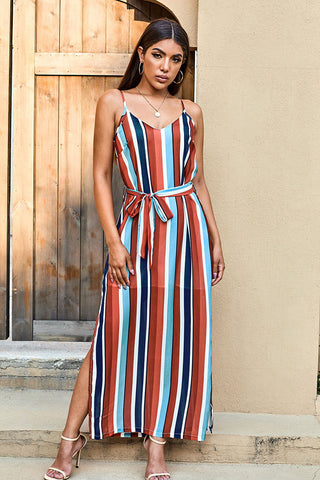 Multicolor Stripes High Slit Long Dress