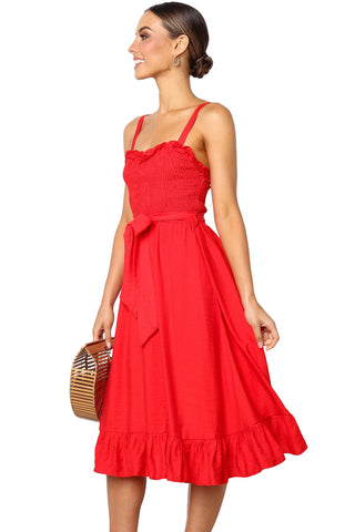 Red Square Neck Sleeveless Dress