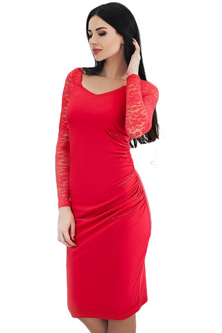 Red Lace Sleeve Embroidery Ruched Dress