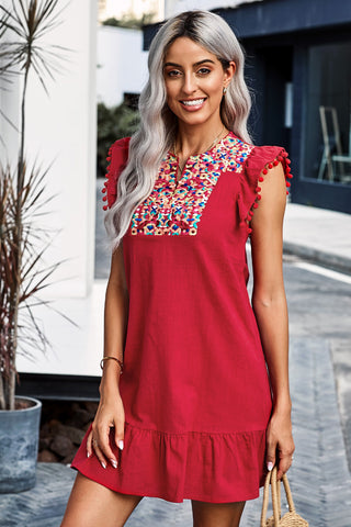 Red Boho Print Pompom Sleeve Short Dress