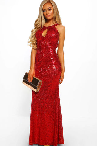 Red Backless Frill Fishtail Sequin Evening Gown