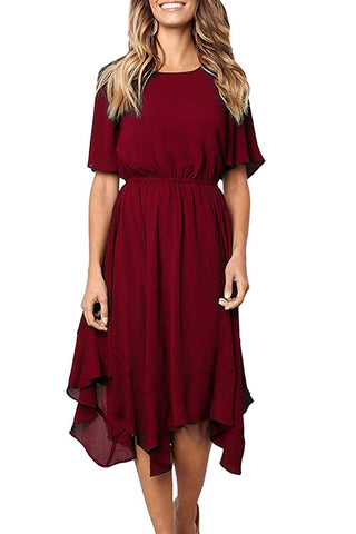 Red Short Sleeves Pleated Dress