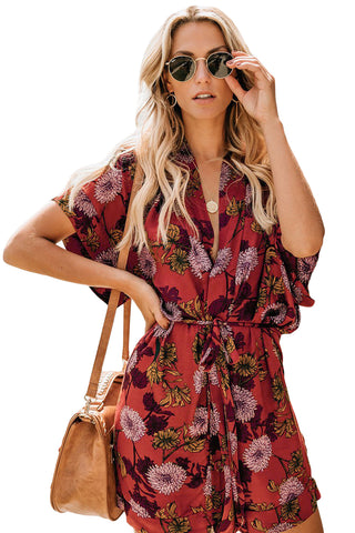 Red Short Sleeves Kimono Floral Dress