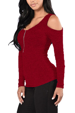 Red Front Zip Cold Shoulders Top