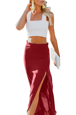 Red Drop High Waist Side Slit Long Skirt