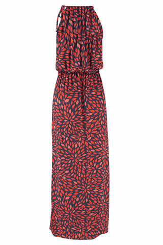 Red Round Neck Print Sleeveless Long Dress