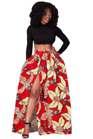 Red Split Floral Print Long Skirt - Boldgal.com