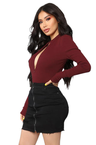 Red Long Sleeves Beyond Time Bodysuit