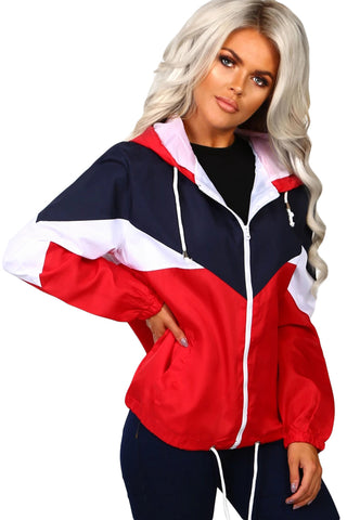 Red Triple Color Block Sporty Jacket
