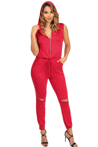Red Cutout Stylish Hoodie Club Jumpsuit - Boldgal.com