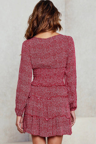 Red Long Sleeves Print Skater Dress