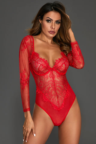 775a87881adc5c Red Long Sleeves Underwire Lace Bodysuit ...