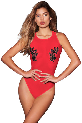 Red Mesh Guipure Lace Teddy