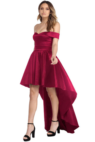 Red Off Shoulder Taffeta Party Dress