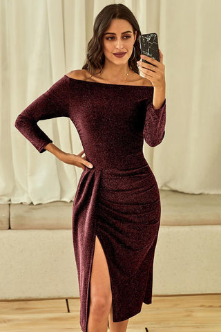 Red Metallic Sequin Off Shoulder Dress