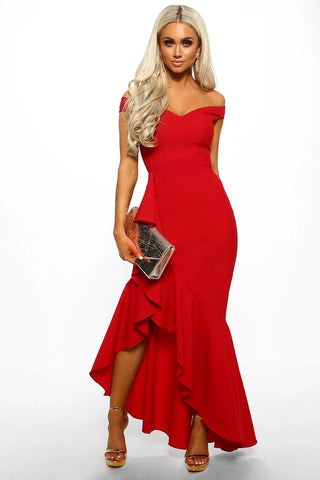 Red Off Shoulder Frill Long Dress