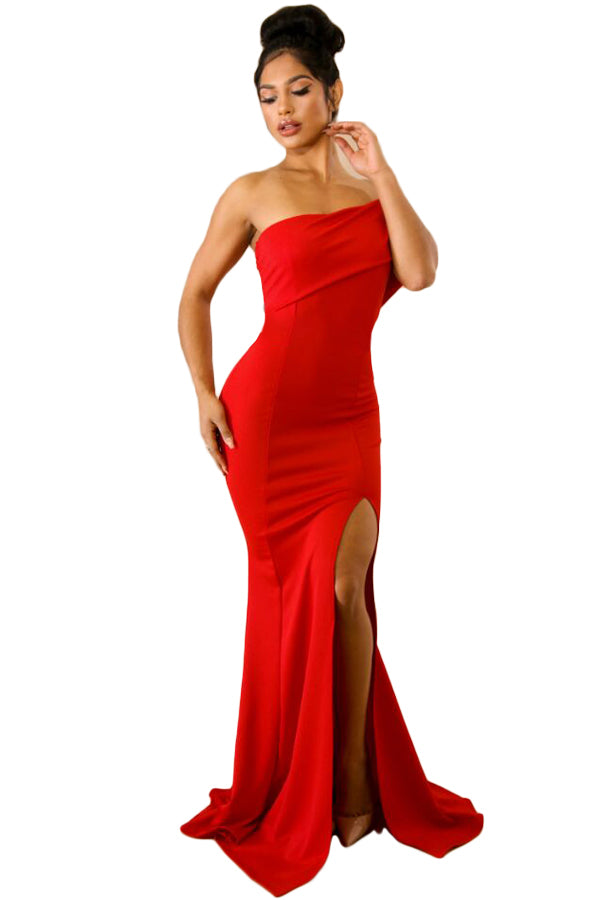 Buy Red Off Shoulder Slit One Sleeve Gown Online India - Boldgal.com