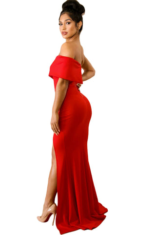 Red Off Shoulder Slit One Sleeve Gown