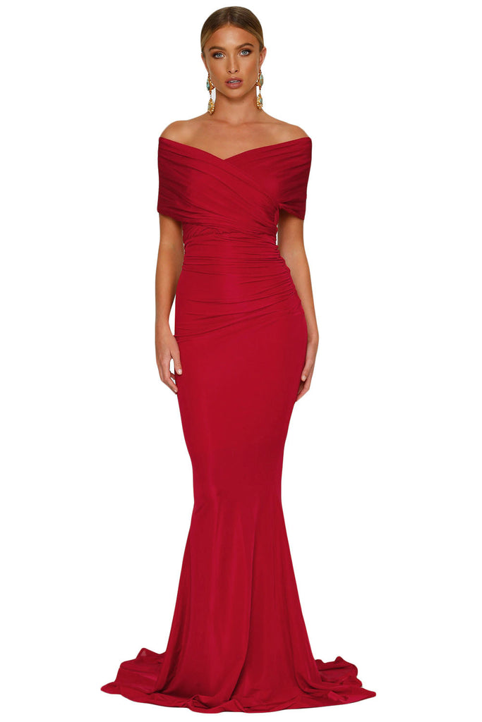 Buy Red Off Shoulder Evening Gown Online India - Boldgal.com