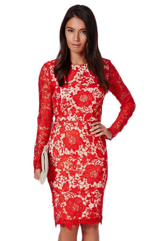 Red Floral Lace Slim Beautiful Cocktail Dress - Boldgal.com
