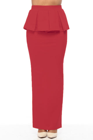 Red Ladies Peplum Stretchy Long Skirt - Boldgal.com