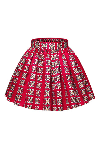 Red Printed Flared Skirt