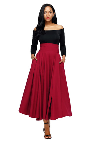 Red High Waist Pleated Belted Long Skirt