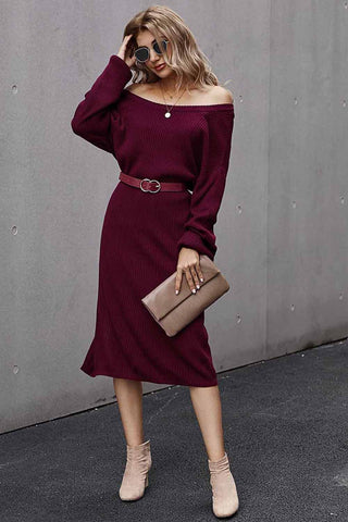 Red Long Sleeves Ribbed Knee Length Dress