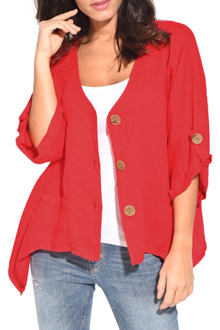 Red Roll Sleeve Front Button Shirt Top