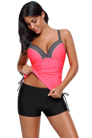 Pink Side Ties Ruched Beach Top