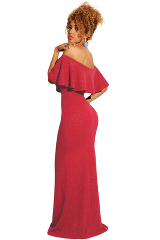 Red Ruffled Off Shoulder Shiny Gown