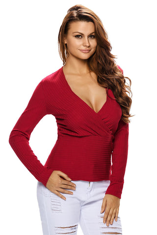Red Plunging Stretch Stylish Short Top