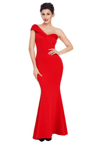 Red One Shoulder Ponti Gown