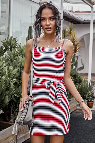 Red Sleeveless Stripes Sling Short Dress