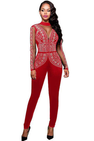 Red Studded Mesh Long Sleeves Jumpsuit