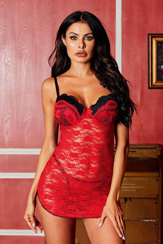 Red Floral Lace Sweet Heart Neck Babydoll