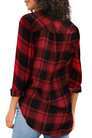 Red Roll up Sleeve Plaids Shirt Top