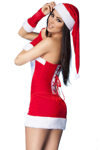 Red Strapless Bustier Christmas Costume