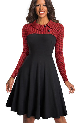 Red Vintage Collar Pinup A-Line Dress
