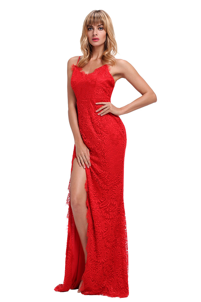 Buy Red Lace Sleeveless Evening Gown Online India - Boldgal.com