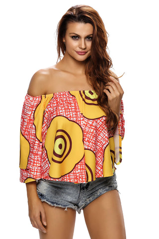 Red Badge Print Off Shoulder Top